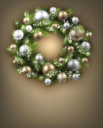 felicitation: Christmas background with Christmas wreath. Vector illustration.