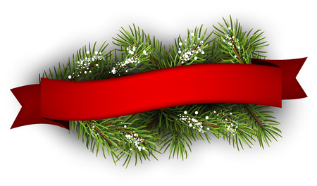 Festive background with fir branch and ribbon. Vector illustration. Stock Illustratie