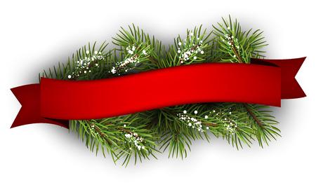 cintas  navide�as: Fondo festivo con la rama de abeto y de la cinta. Ilustraci�n del vector.