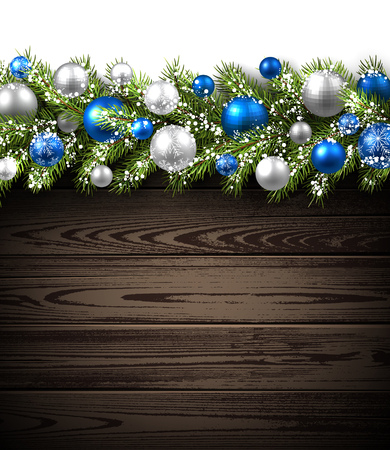 blue and white: Wooden card with fir branch and balls. Vector paper illustration.