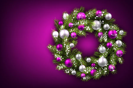 green and purple: Purple background with Christmas wreath. Vector illustration. Illustration