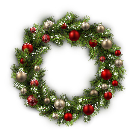 silver frame: White card with Christmas wreath. Vector paper illustration. Illustration