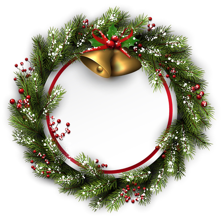 White card with Christmas wreath and bells. Vector illustration.