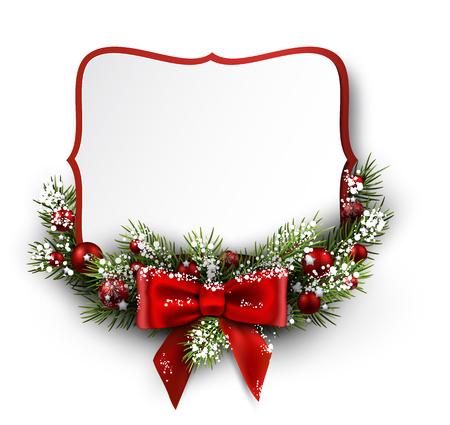 Weihnachtskarte mit Tannenzweig und Bogen. Vektor-Illustration.