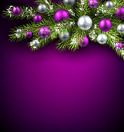 green and purple: Christmas background with fir branch and balls. Vector illustration.