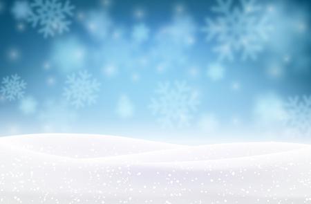 De achtergrond van de winter met sneeuwvlokken. Vector illustratie.  Stock Illustratie
