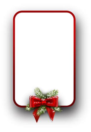 モミ枝と弓のクリスマス カード。イラスト。