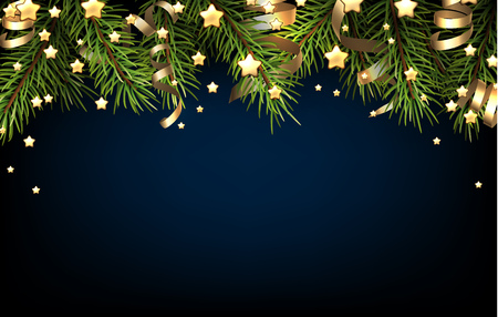 happy holiday: Christmas blue background with fir branch. illustration.