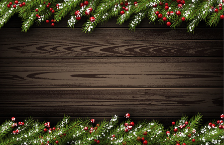 and in winter: Wooden winter background with fir branches. illustration.