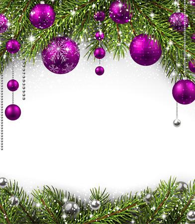 クリスマスの背景にモミの枝、ボール。イラスト。