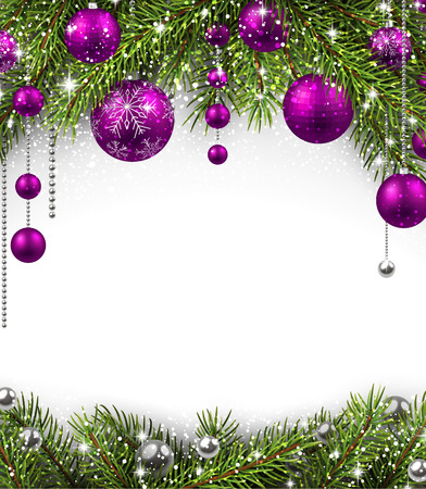 purple: Christmas background with fir branches and balls. illustration. Illustration