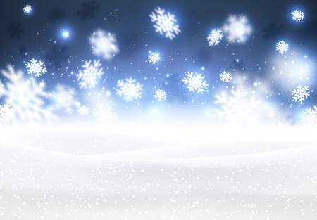 Winter background with snowflakes. Vector paper illustration. Banco de Imagens - 47831670