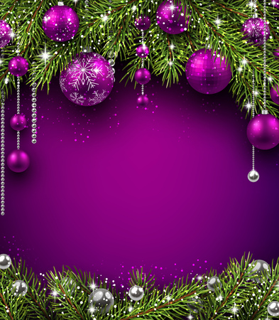 green and purple: Christmas background with fir branches and balls. Vector illustration. Illustration