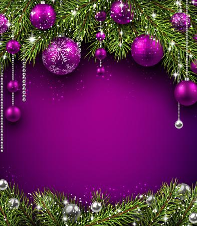Kerst achtergrond met fir takken en ballen. Vector illustratie. Stockfoto - 47831723
