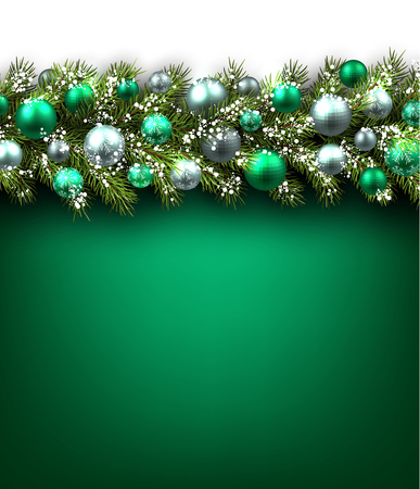 felicitation: Green background with fir branch and balls. Vector illustration.