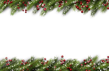 흰색 카드로 전나무 지점과 눈송이입니다. 벡터 일러스트 레이 션. 스톡 콘텐츠 - 47831727