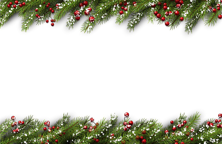 White card with fir branches and snowflakes. Vector illustration.