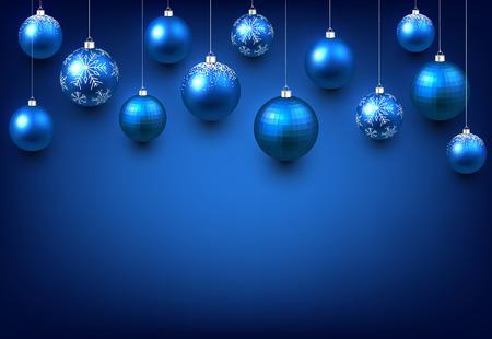 Kerstmis blauwe achtergrond met ballen. Vector illustratie.
