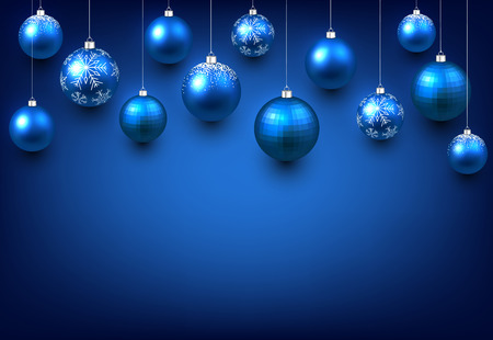 Christmas blue background with balls. Vector illustration.