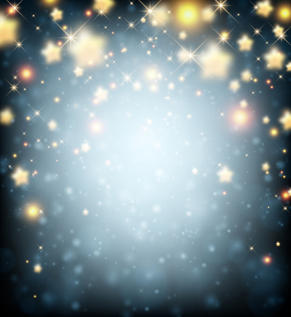 lights: Blue luminous background with stars. Vector paper illustration. Illustration