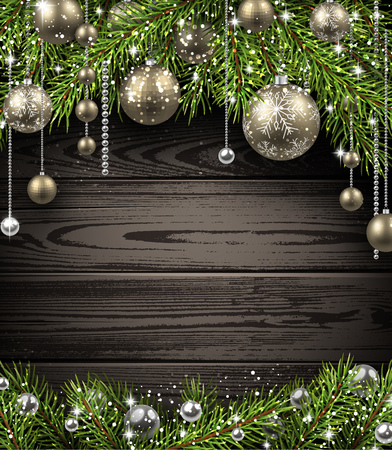 christmas decor: Christmas wooden background with fir branches and balls. Vector illustration.