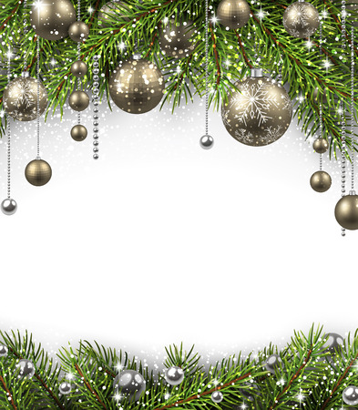 christmas ball: Christmas background with fir branches and balls. Vector illustration. Illustration