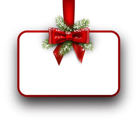 전나무 분기와 활과 크리스마스 카드입니다. 벡터 일러스트 레이 션.