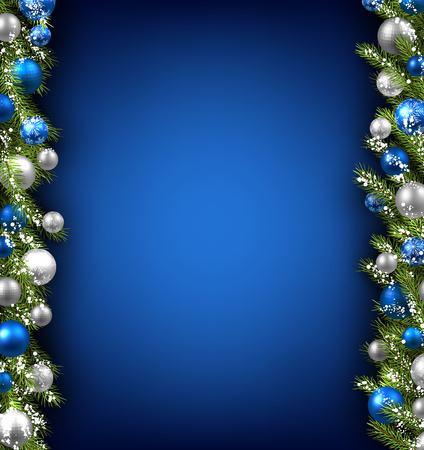 Blue card with fir branches and balls. illustration.