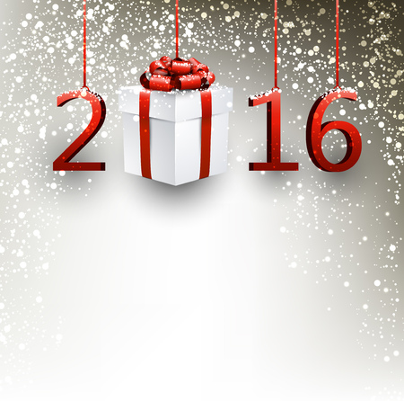 gift paper: 2016 New Year background with gift. Vector paper illustration.