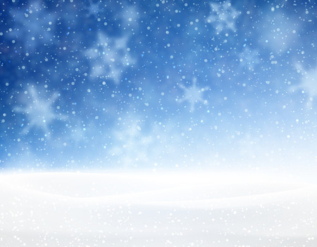 blue and white: Winter blue background with snowflakes. Vector illustration.