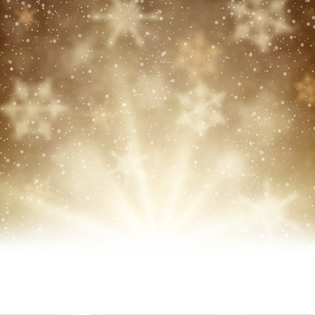 brown background: Winter aurora background. Vector paper illustration.