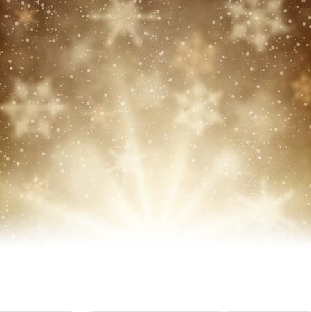 brown: Winter aurora background. Vector paper illustration.
