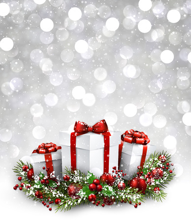 luminous: Christmas luminous background with gifts. Vector paper illustration. Illustration