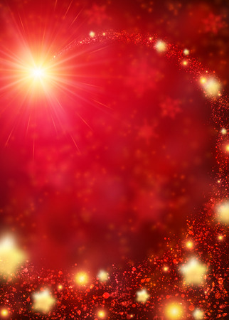 Red sparkling background with stars. Vector illustration. Illustration