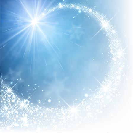 Blue winter background with petard. Vector paper illustration. Ilustração