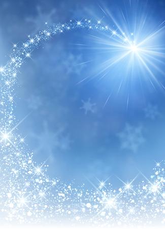 Blue winter background with petard. Vector paper illustration. Illustration