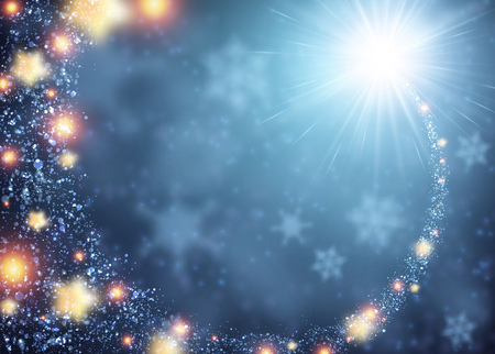 december: Blue sparkling background with stars. Vector illustration.