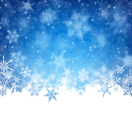 blue and white: Winter card with snowflakes. Vector paper illustration.