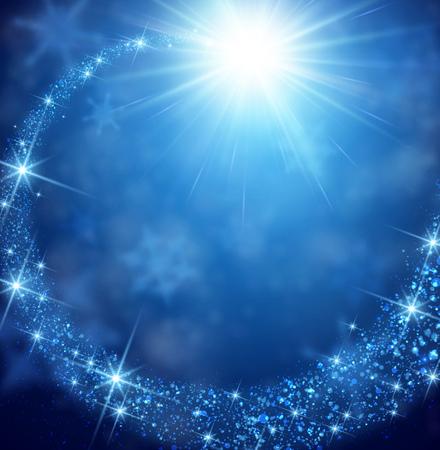 Blauwe winter achtergrond met petard. Vector papier illustratie. Stock Illustratie