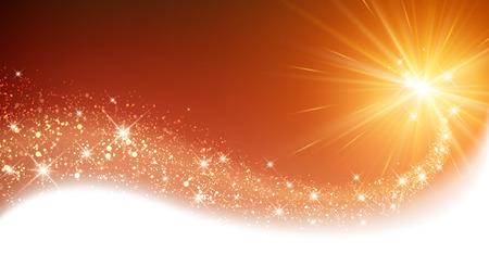 Orange sparkling card with petard. Vector illustration.