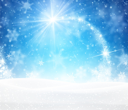 magic: Blue winter background with snowflakes. Vector paper illustration.