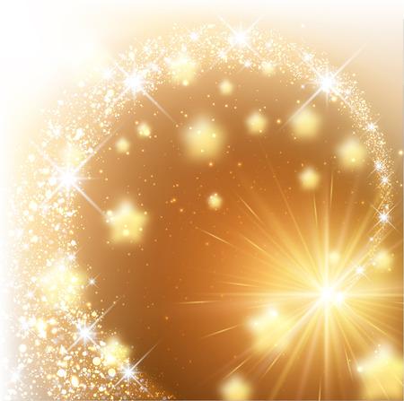 Golden sparkling background with stars. Vector illustration. Ilustração