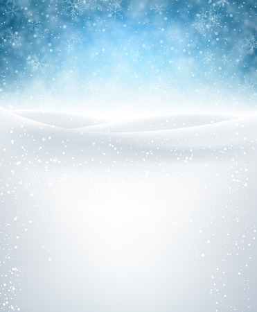 Blue winter background with snowflakes. Vector illustration