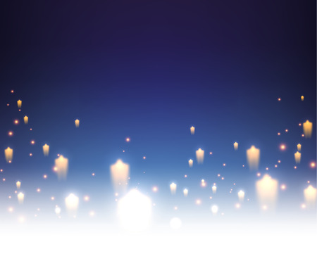 Blue background with stars. Vector paper illustration. Vettoriali