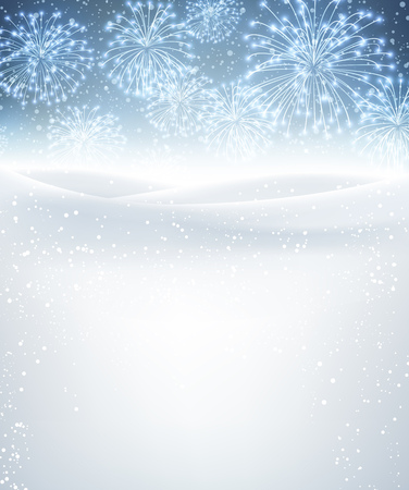 schneeflocke: Winter background with fireworks. Vector paper illustration.