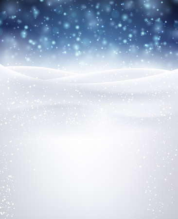 december background: Blue winter background with snowflakes. Vector illustration.