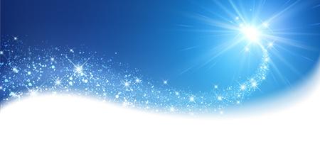Blue sparkling card with petard. Vector illustration.