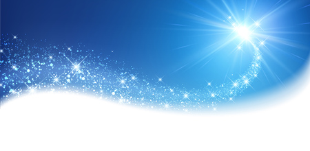 snow background: Blue sparkling card with petard. Vector illustration.