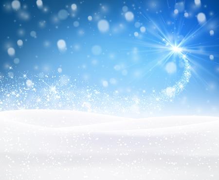 Blue winter background. Vector paper illustration. Vettoriali