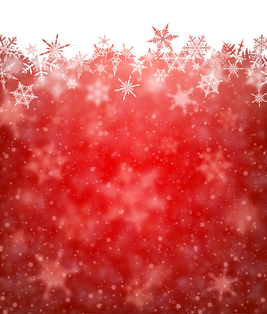 image: Red winter card with snowflakes. Vector paper illustration.